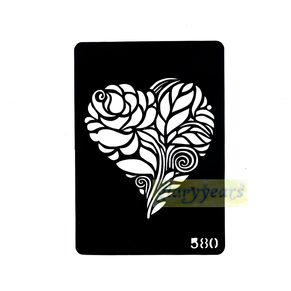 1 sheet new heart black flower design airbrush stencil for Henna temporary tattoo stencils
