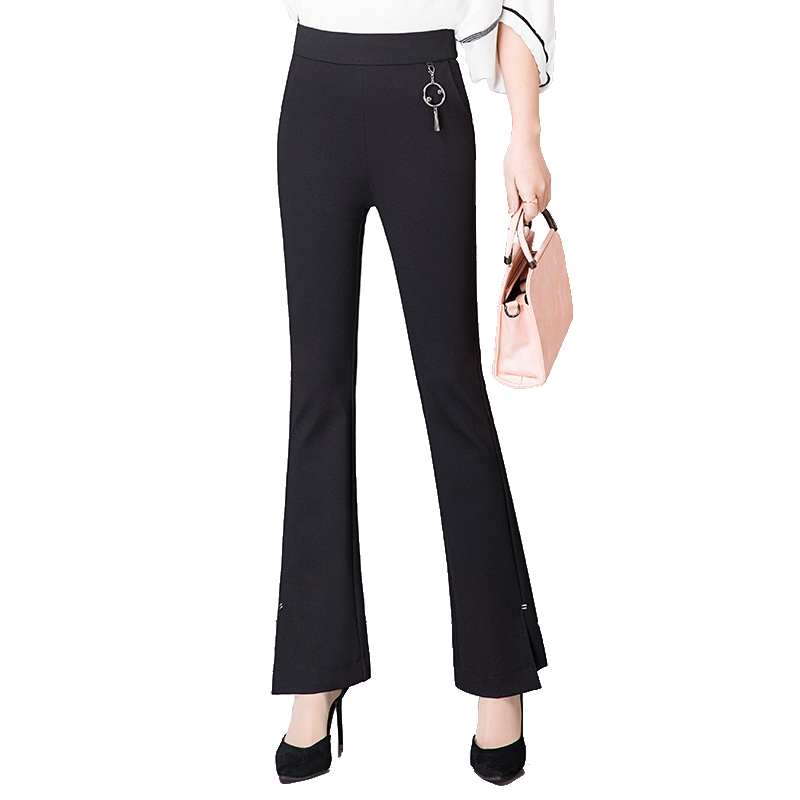 High Nine New Full Trousers long Waist Work Casual Plus Pant Elastic Women Size Pant Spring Flare Slim length Office Ol Pants 6TcwqFYrTS