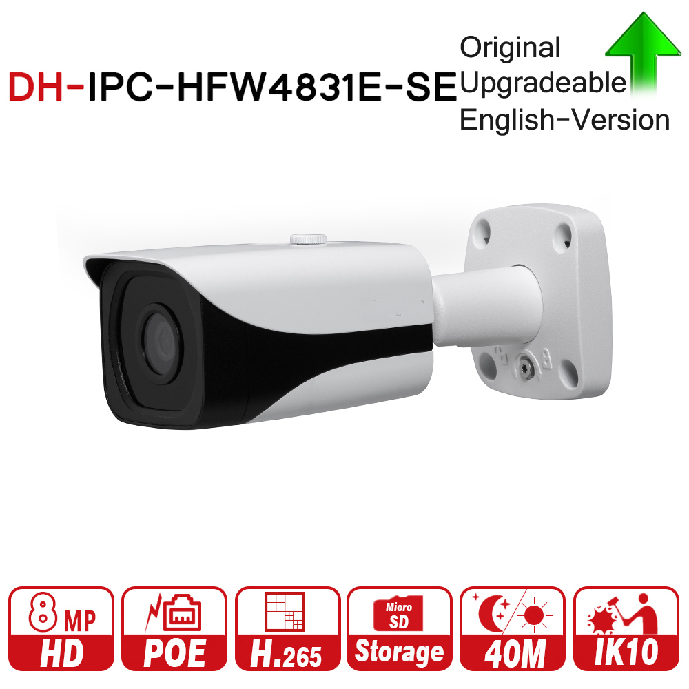 DH IPC-HFW4831E-SE 8MP WDR IR Mini Bullet Network IP Camera 4K Smart Detect 40m IR Support Micro SD Card H.265 WDR IP67 PoE dh ipc hfw4431e se 4mp wdr ir mini bullet network ip camera 4k smart detect 40m ir support micro sd card h 265 wdr ip67 poe