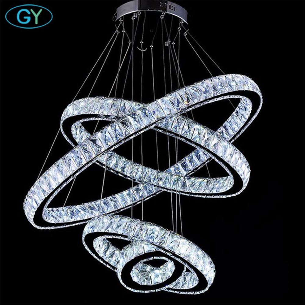 AC110-240V новый кристалл 4 кольца led подвесные светильники потолочные круг люстры 87 Вт современный дом фойе DIY подвесные светильники lamparas luz