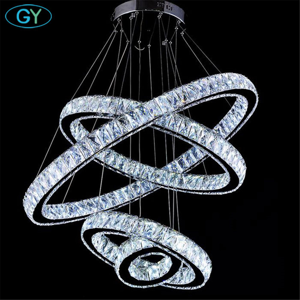 AC110-240V NEW Crystal 4 Rings led Pendant Lights Ceiling Circle lustres 87W modern home foyer DIY pendant lighting lamparas luz