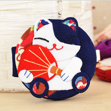 1 pc Cute Fortune Cat Foldable Compact Mirror Japanese Style Makeup Tool Mirroe (Random Pattern)