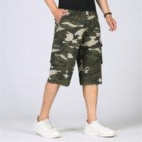 Summer Men Army Camouflage Shorts Men Cargo Shorts Male Loose Elastic Waist Work Short Cotton Baggy