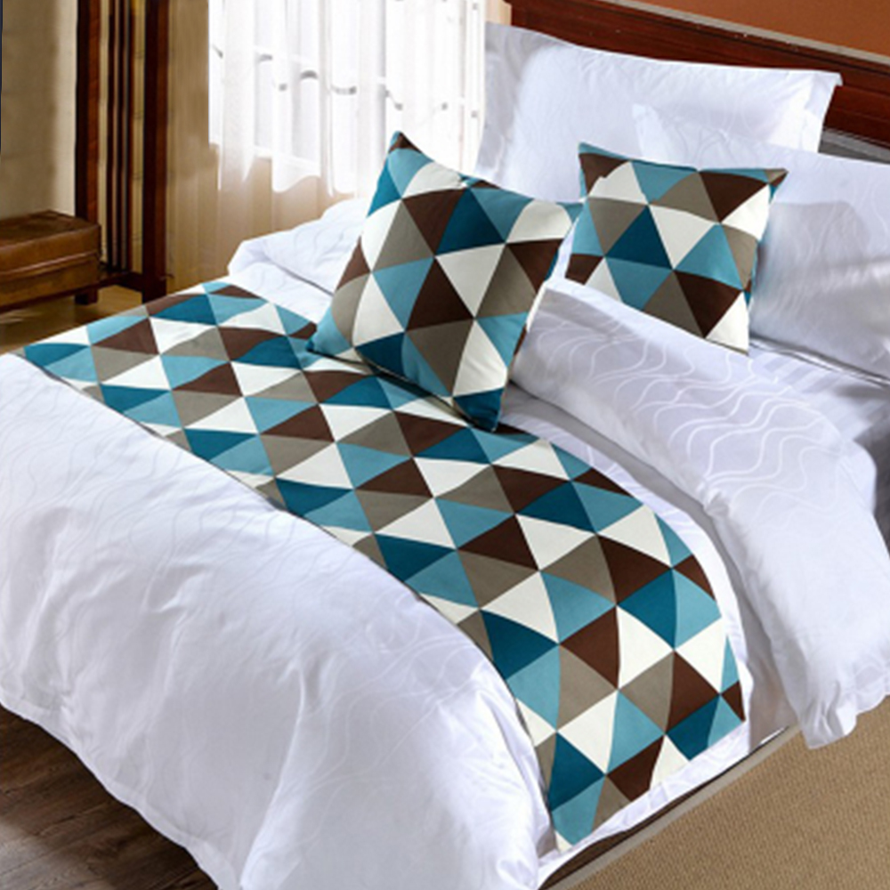 Yazi fashion geometric design bed runner throw home hotel for Home decorating company bedding