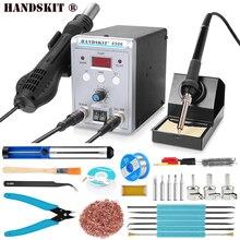 Estação de retrabalho digital, ue 220v 8586 750w 2 em 1 pistola de ar quente retrabalho smd ferros de solda elétrica digital com suporte de solda, ferramentas de solda