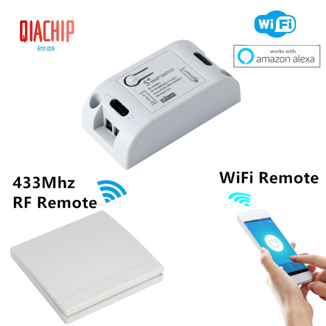 Wifi Smart Switch DIY Smart Home Wireless Remote Control Relay Module 433Mhz RF Receiver Lights Switches Works with Amazon Alexa
