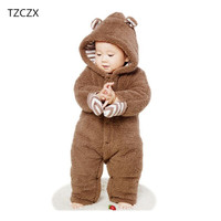 TZCZX 1pcs New Children Baby Boys Girls Novelty Rompers Cartoon Animal Thicker Hooded Jumpsuits For 3