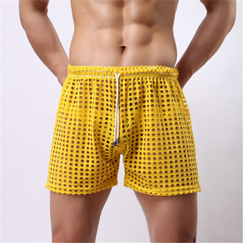 Men Sexy Boxers Shorts Transparent Drawstring See Through Trunks Stage Wear Male Hollow Out Mesh Shorts Erotic Bottom