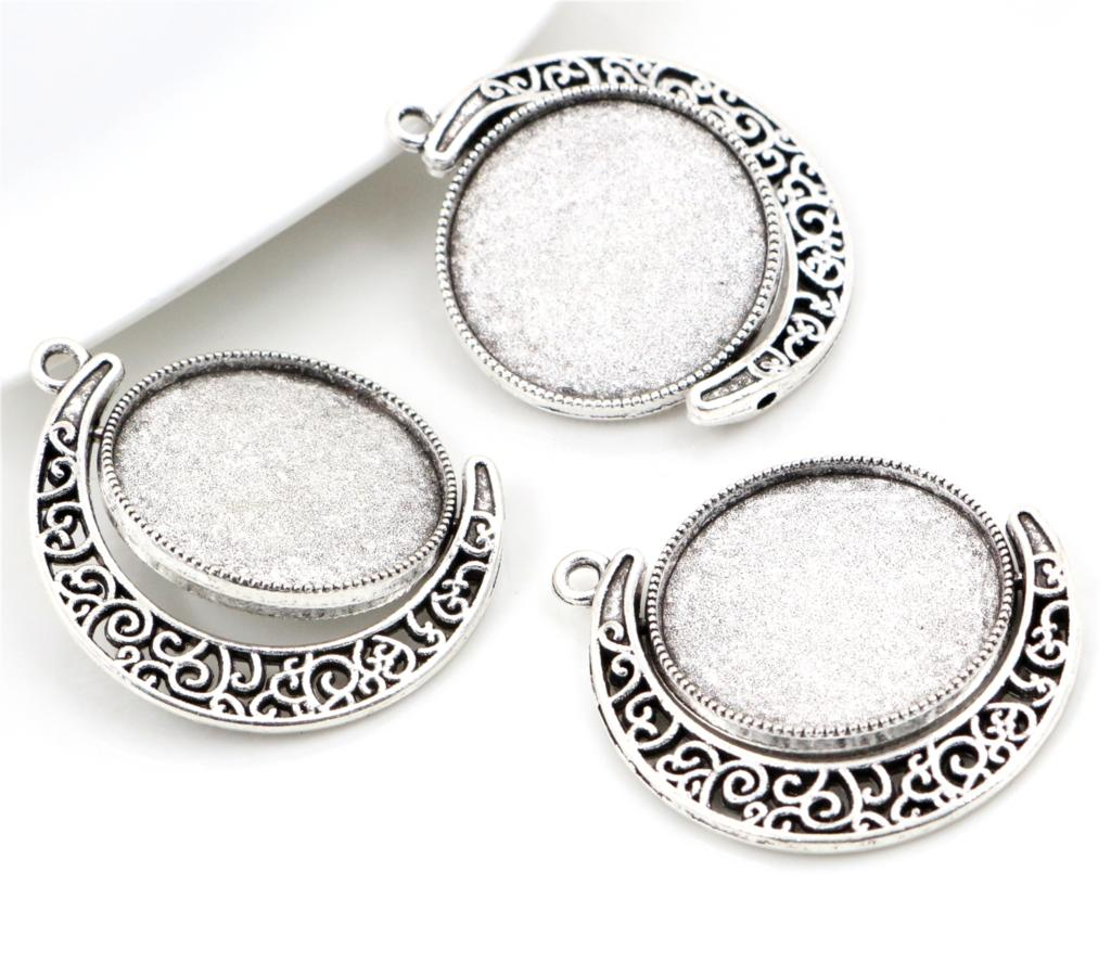 цена на 5pcs 25mm Inner Size Rotation Double Side Antique Silver Colors Cameo Cabochon Base Setting Charms New Fashion Pendant (A3-01)