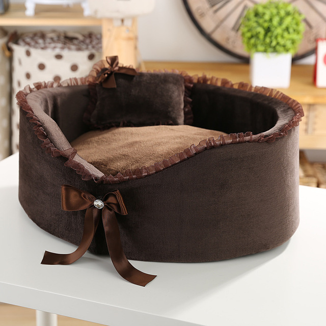 Pet kennel High-quality Circular Small dog house lace bow pet nest cat dog beds Send a pillow 2 colour  pet products