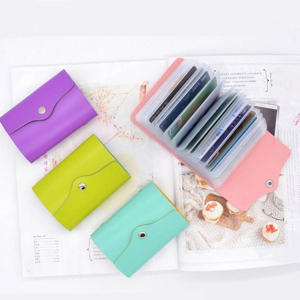 Women 24 Cards Holder Candy Color Mini Wallet Business Travel Buckle Cash Purse Women 24 Cards Holder Candy Color Mini Wallet Business Travel Buckle Cash Purse