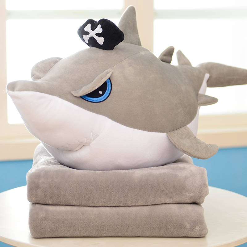 Cartoon pirate shark plush pillow toys for children gift