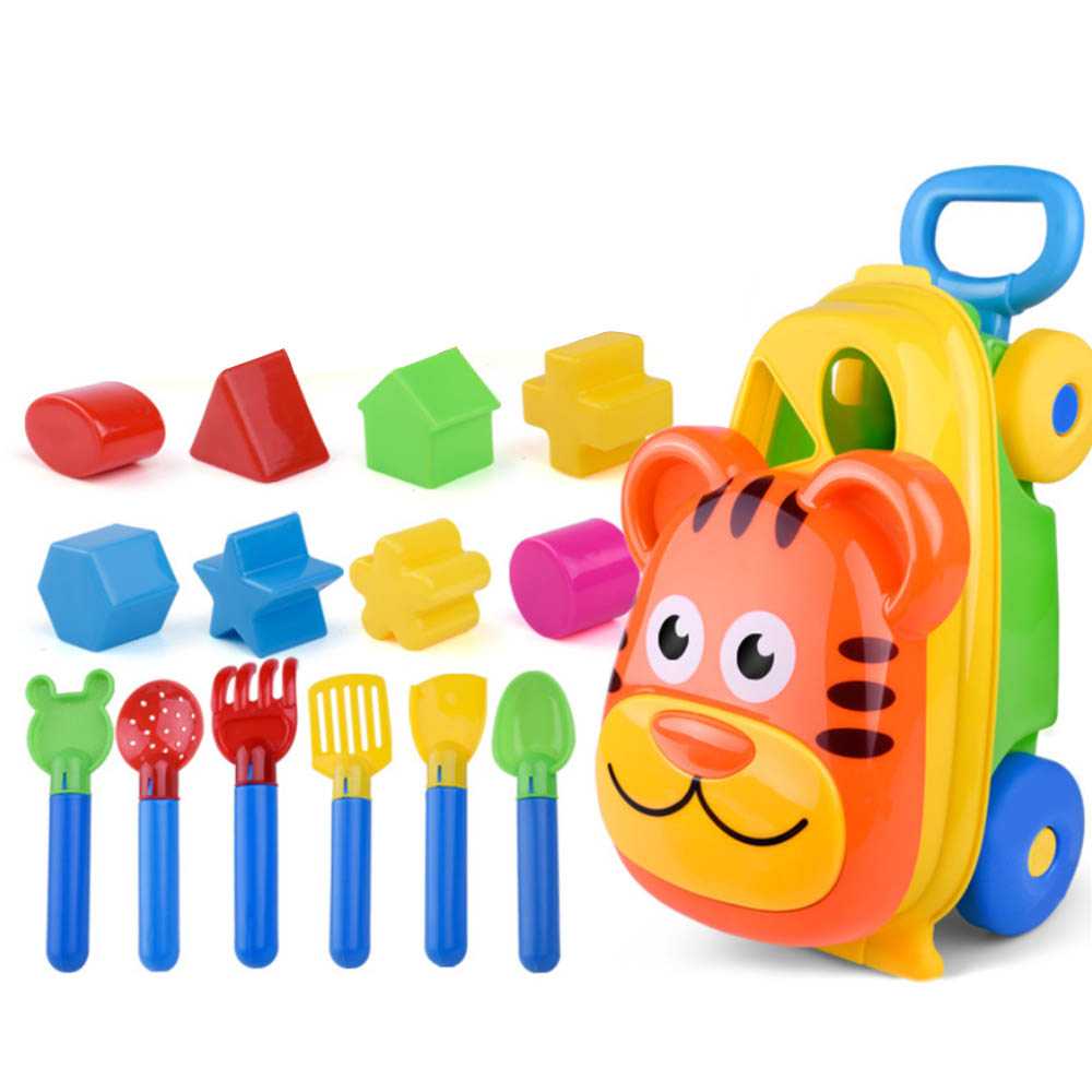 Cartoon Tiger Shape Sand Beach Toy Trolley Cute Trolley Sand Pretend Play Toys For Children Spade Shovel Rake Storage Case Set