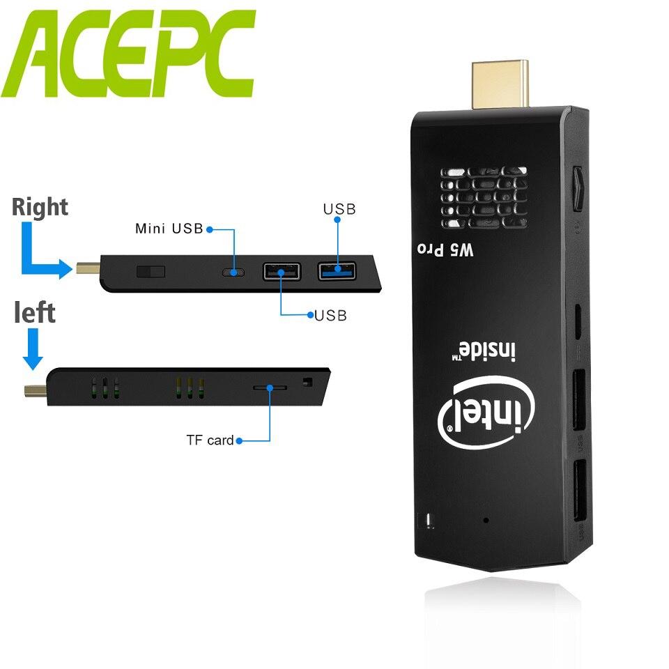 Janelas 10 MINI PC W5 Pro Intel atom Z8350 Ventilador Do Computador Mini PC quad core 1.44GHz WiFi2.4G & 5G 4K Bluetooth 4.0 Mini PC Da Vara
