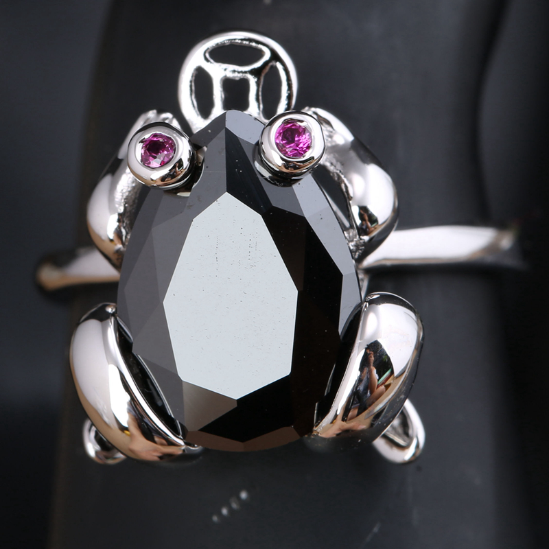 Lovely Frog Shape Black Onyx Red Cubic zirconia 925 Sterling Silver Trendy Party Jewelrys Rings US