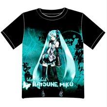 Envío Libre Miku Hatsune VOCALOID Anime manga T-shirt Las Mujeres de Los Hombres Cosplay Camiseta de Malla Negro Tee 004
