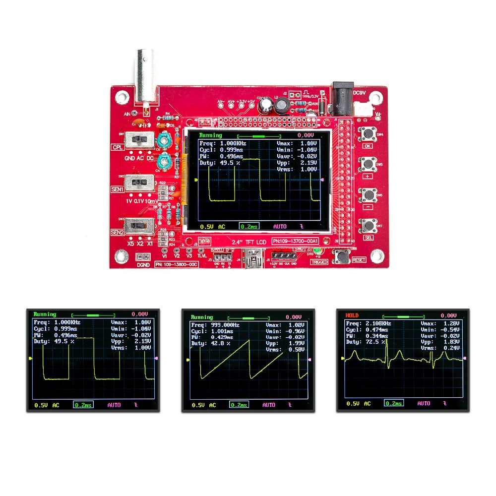 DSO138 Soldered Pocket-size Digital Oscilloscope Kit DIY Parts Electronic soldered dso138 2 4 tft handheld pocket size digital oscilloscope kit smd soldered acrylic diy case cover shell for dso138