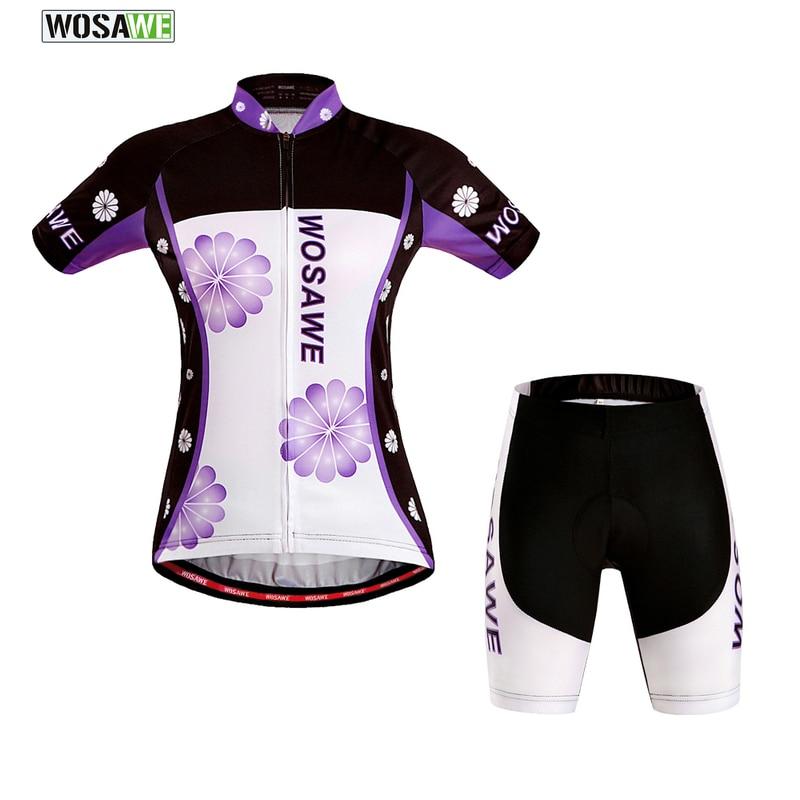 WOSAWE Summer Women Short Sleeve Cycling Jerseys Quick-Dry Bicycle Sportswear Ciclismo GEL Pad Bike Shorts Shirts