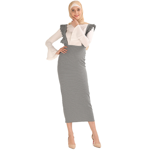 6d7b511da US $24.93 49% OFF|Plus Size Faldas Largas Mujer Moda 2019 Plaid Abaya  Muslim Korean High Waist Puffles Long Skirt Maxi Skirts Womens Jupe  Femme-in ...