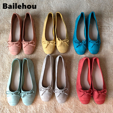 Bailehou Women Ballet Flats Super Soft and Comfort Flat Shallow Mouth Round Toe Shoes Women Single Shoes Slip On Casual Flats floral shoes female 2018 genuine leather women s flat shoes handmade slip on stitches flats round toe comfort shoes for women