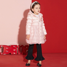 2017 Little Baby Girls Cute Party Down Jacket Warm Thick Winter Pink Coat for Kid's Warm Clothes Children Age2345678 Years old