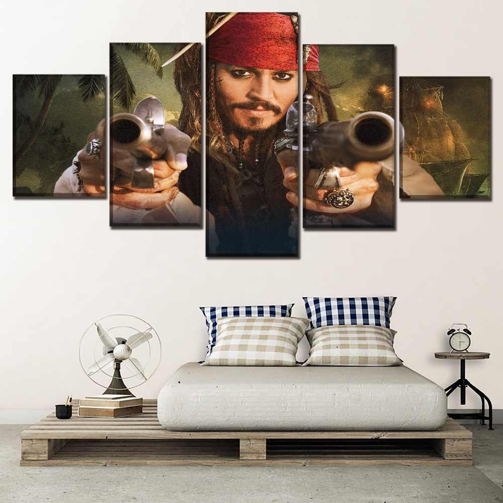 คุณภาพสูงผ้าใบพิมพ์ภาพวาดโปสเตอร์ภาพยนตร์ 5 แผงโจรสลัดในทะเลแคริบเบียนเมื่อคนแปลกหน้า Tides ภาพงานศิลปะ