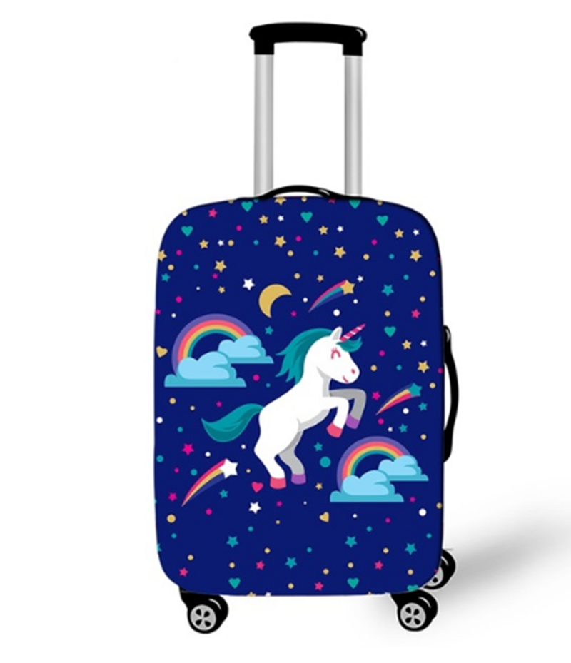 18-32 Inch 3D Unicorn Horse Rainbow Clouds Travel Luggage Cover Thick Protective Suitcase Covers Elastic Anti-Dust Case Covers