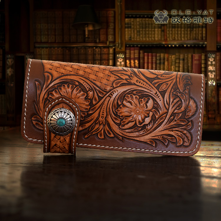 OLG.YAT handmade wallet women purse Arabesque handbag Vegetable tanned leather women wallets long hasp bags Cowhide wallet Retro arabesque arabesque ix time to say goodbye deluxe edition