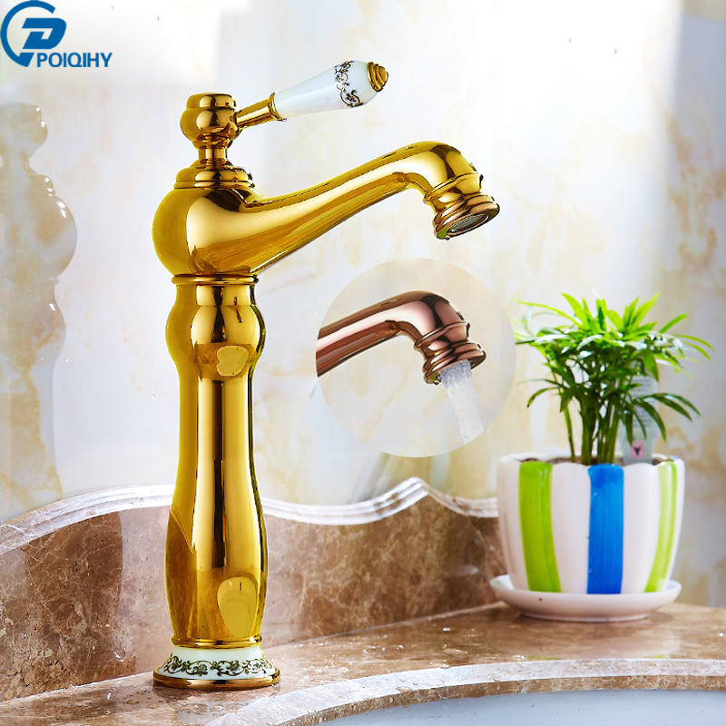 POIQIHY Deck Mounted Rose Gold Brass Hot and Cold Water Mixer Tap Single Handle Bathroom Basin Vessel Sink Faucet jomoo bathroom basin faucet solid brass chrome deck mounted basin mixer single handle hot and cold water tap bathroom faucet