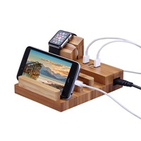 3 USB Charging Ports,Bamboo Wooden Charging Dock Organizer Watch Charger Bracket Stand Display Holder for iPhone/For Apple Watch