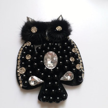 Fashion black owl beaded patches for clothing sequins Rhinestone appliques parche DIY handmade clothes accessories