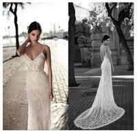 LORIE Lace Mermaid Wedding Dress 2019 Vestidos de novia Spaghetti Straps Lace Sexy Bridal Gown Elegant Backless Wedding Gowns