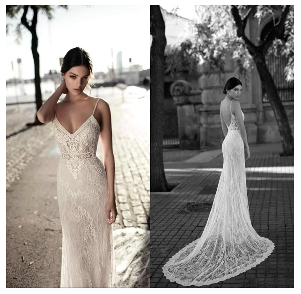 LORIE Lace Wedding Dress 2019 Vestidos de novia Spaghetti Straps Lace Sexy Bridal Gown Elegant Backless Wedding Gowns