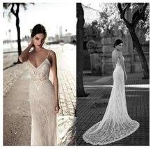 Lorie кружевное свадебное платье с юбкой годе на тонких бретельках