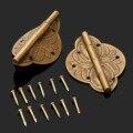 2 Unids Latón Plateado Mini Bisagra de Bronce Antiguo Decorativo Joyero De Madera Puerta Del Armario Bisagras + Uñas Accesorios de Muebles 43x31mm