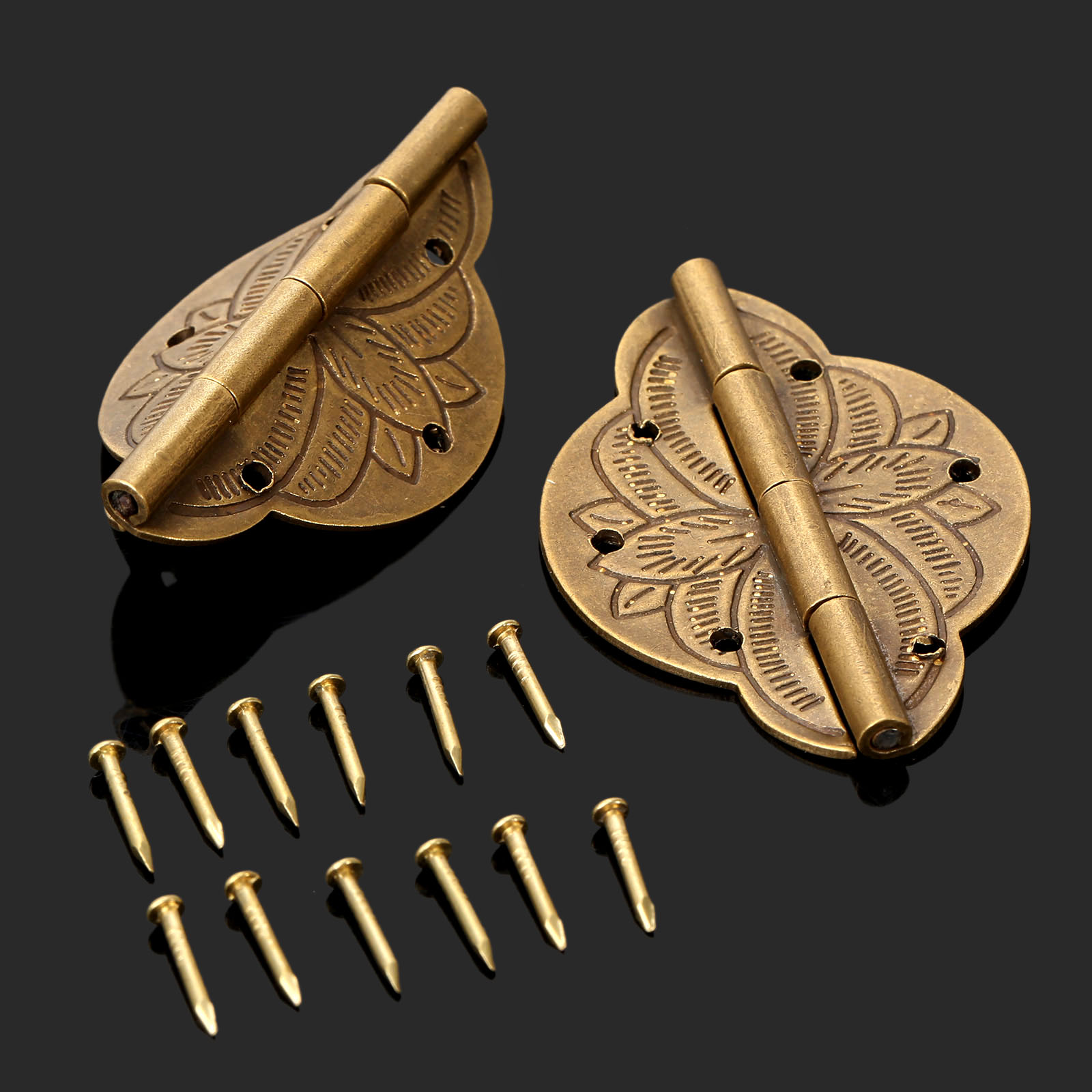 2Pcs Brass Plated Mini Hinge Antique Bronze Decorative Jewelry Wooden Box Cabinet Door Hinges+Nail Furniture Accessories 43x31mm 10pcs cabinet door butt hinges mini drawer bronze decorative mini hinges diy accessories small wooden box decoration