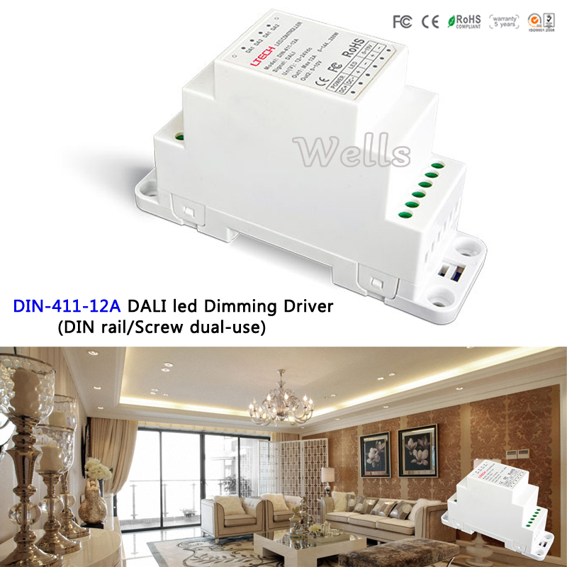 LTECH DALI to PWM CV Dimming Driver(DIN rail/Screw dual-use);DC12-24V input;12A*1CH output DIN-411-12A for led light 5pcs lot adp3110akcpz adp3110ak adp3110a 3110a l3e dfn8 dual bootstrapped 12 v mosfet driver with output disable