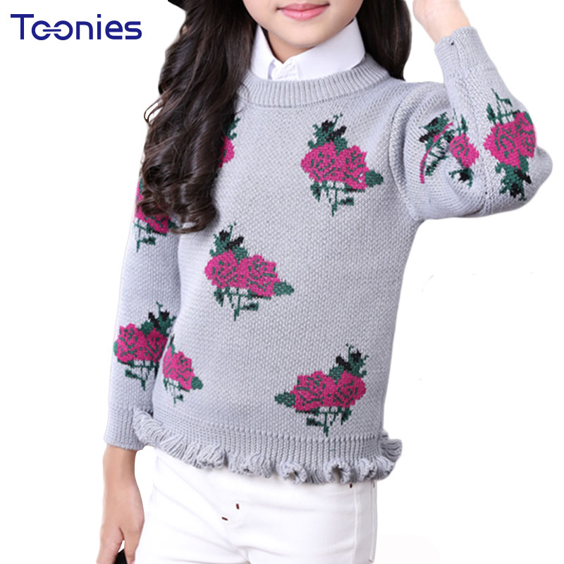 New Design Girls Sweater 2018 Winter Knitting Child Sweaters High Quality Kids Pullovers ...