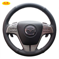 Case For Mazda 6 Zoom Zoom Car Steering Wheel Cover Genuine Leather DIY Accessories Interior