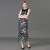 Summer 2017 Newest Silk Vintage O Neck Sleeveless Straight Package Buttocks Flowers Embroidery Ankle Length Long Dress Women
