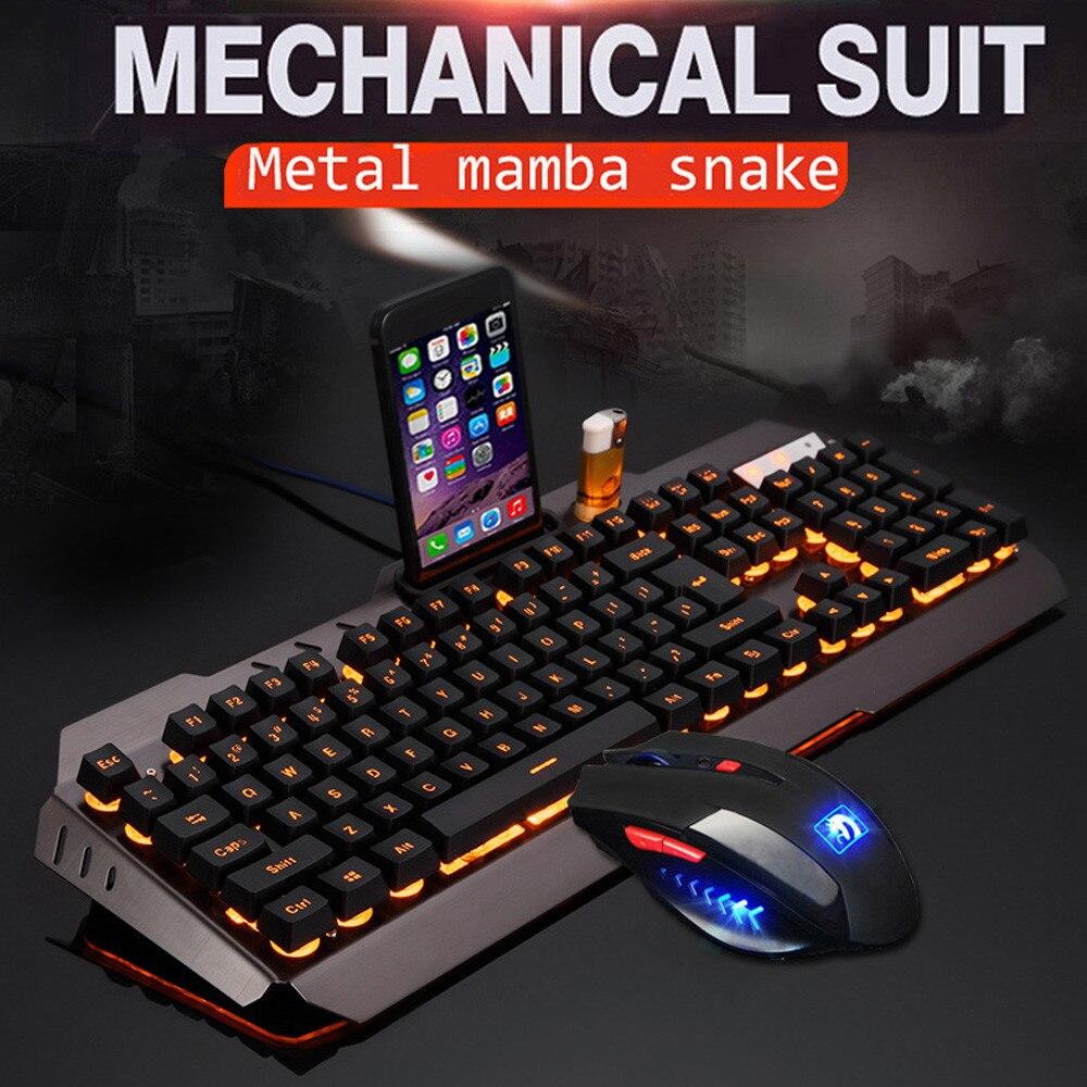 ZELOTES professionnel Ultra-mince mode M938 LED rétro-éclairé Usb ergonomique clavier de jeu + souris Gamer ensembles + tapis de souris YE2.25