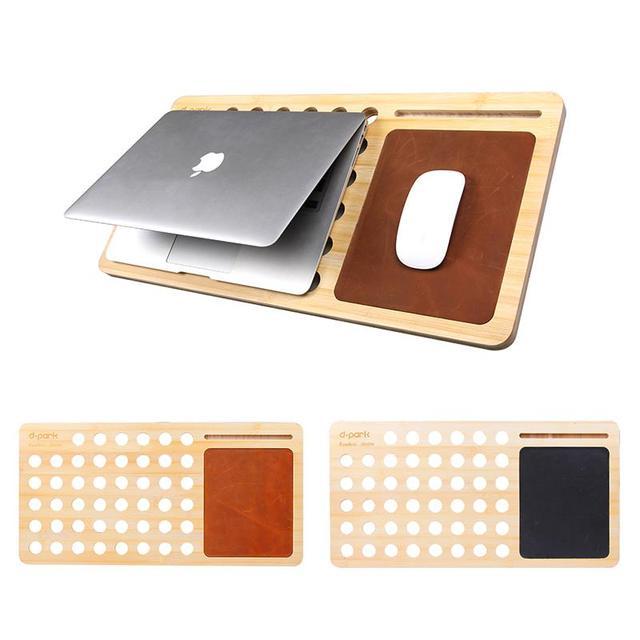 El envío Libre de Bambú Creativo Cojín de Enfriamiento Del Ordenador Portátil y Tablet Soporte y Alfombrilla De ratón de Cuero Genuino