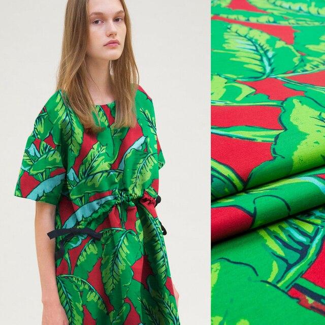 size 40 bb9d6 bd399 US $17.8 |Moda colore audace grandi foglie verdi e modello di colore rosso  di seta miscele di lana, tessuto di lino cucito giacca del vestito per la  ...