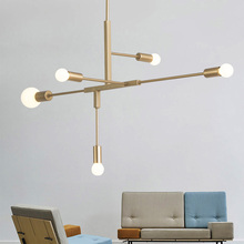 купить Nordic Modern Gold LED Pendant Lights bedroom dinning room kitchen hanglampen voor eetkamer E27 LED Lamp Edison Light Bulb дешево