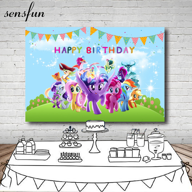 Sensfun Grassland Little Pony Backdrop For Kids Sky Blue Clouds Apple Tree Bunting Cartoon Birthday Party Backgrounds Vinyl