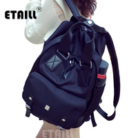 2016 Stylish Black Waterproof Nylon Rivet Backpack Women Men Student School Bag Travel Bag Daily Day