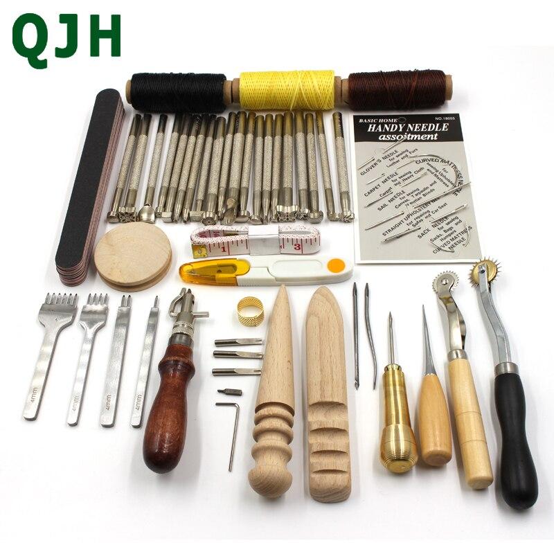 QJH 44 pçs/set Edger Soco Couro Craft & Ferramentas De Costura Set Carving Drilling Ferramenta Carimbo incluem Furador Trincheira, linha de cera, Dedal, etc.