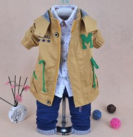 NEW2015 autumn baby sets clothes baby boys striped fashion v neck long sleeved suit cardigan and pants clothing set for baby boy