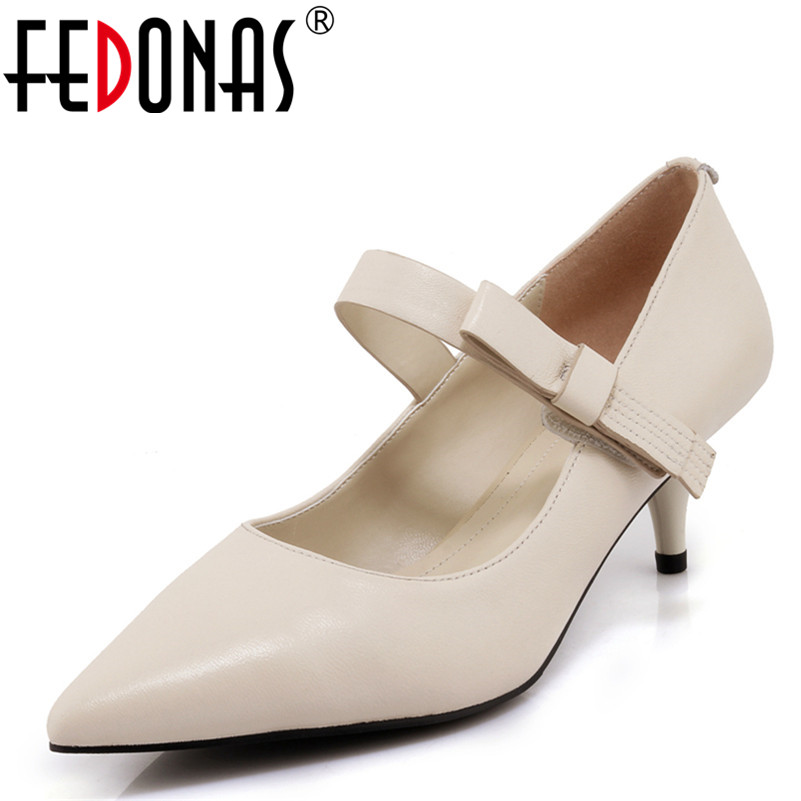 FEDONAS New Women Shoes High Heels Gladiator Ankle Strap Wedding Party Shoes Woman Genuine Leather Bowtie Pointed Toe Pumps daidiesha pu leather high heels shoes women pointed toe glitter pumps elegant party wedding lady block heels ankle strap shoes