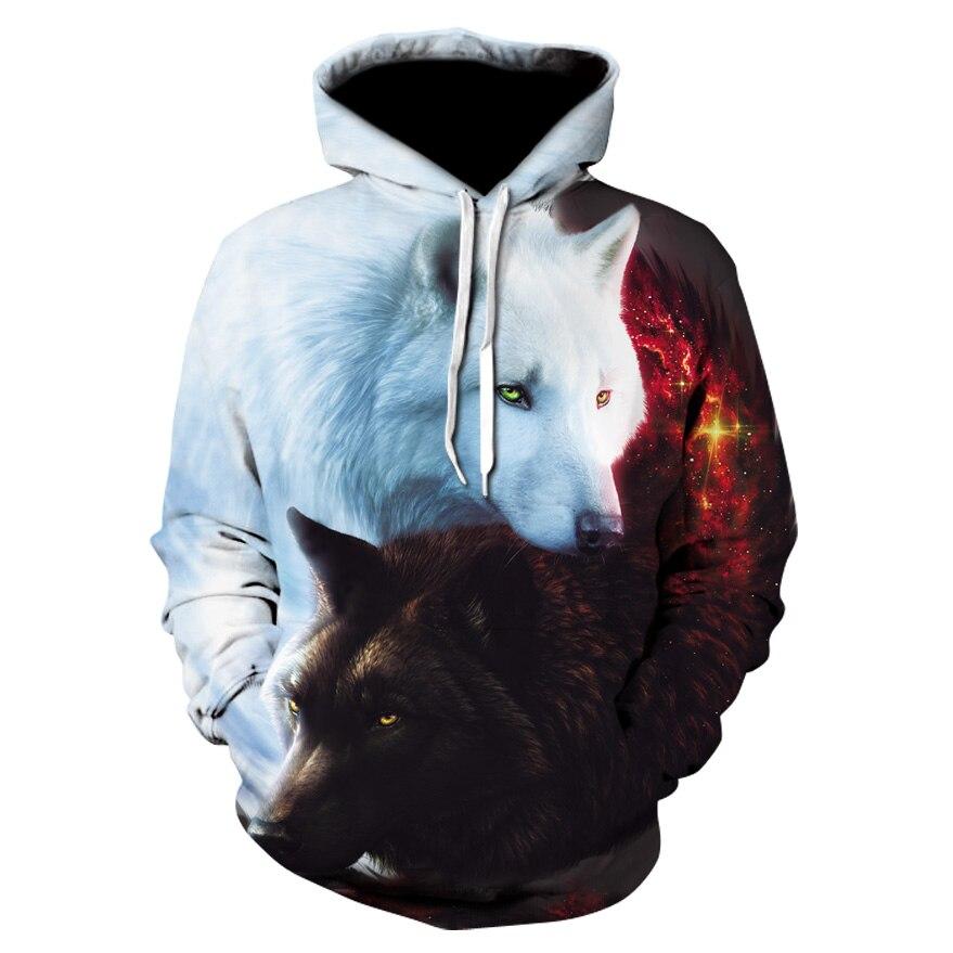 Fashion Men Wolf Animal 3d Printed Hooded Hoodies Men